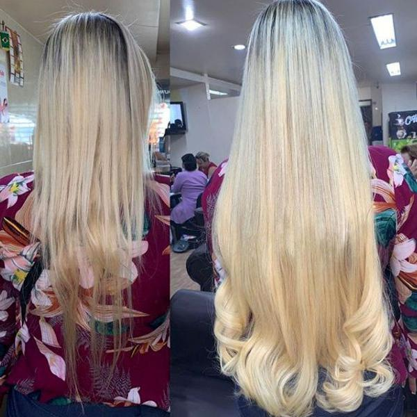 cabelo orgânico igual cabelo humano loiro 65 cm 100 gramas