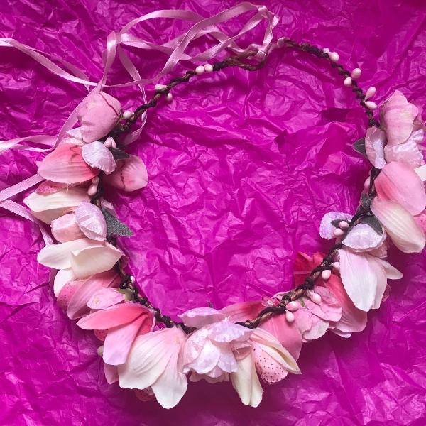 coroa de flores guirlanda tamanho único usado uma vez rosa