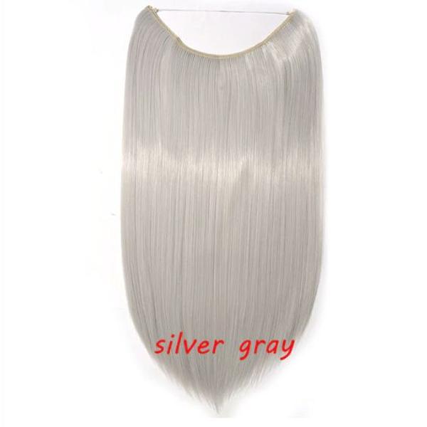 Extensão de cabelo tipo tiara aplique cor cinza liso