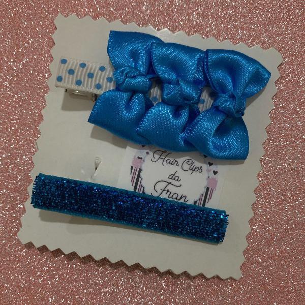 Hair clips azul turquesa
