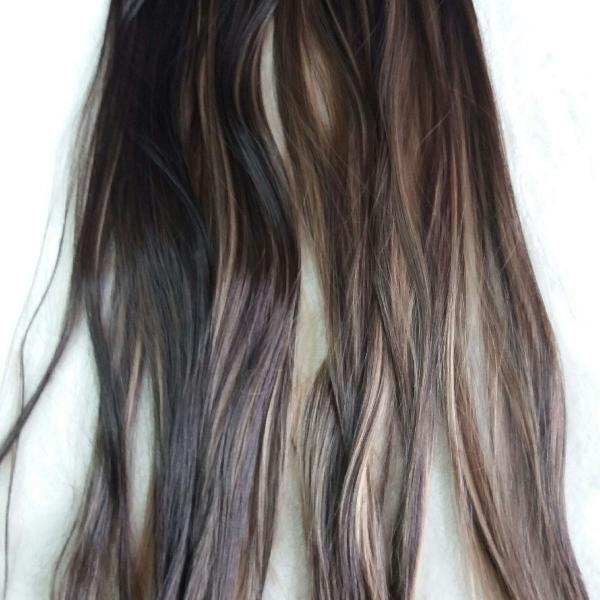 Mega hair tic tac castanho medio com luzes