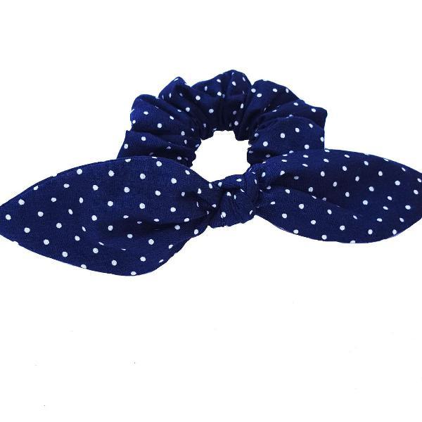 Scrunchie azul bolinhas