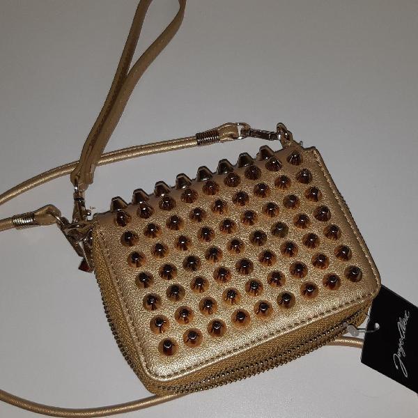 Linda bolsa carteira dourada
