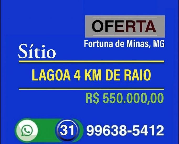 Vende Sítio, Lagoa 4 Km de Raio, Fortuna de Minas, MG