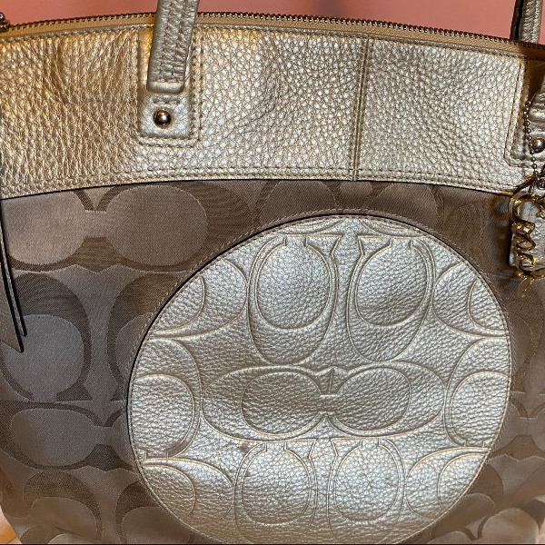 bolsa de tecido com couro original coach