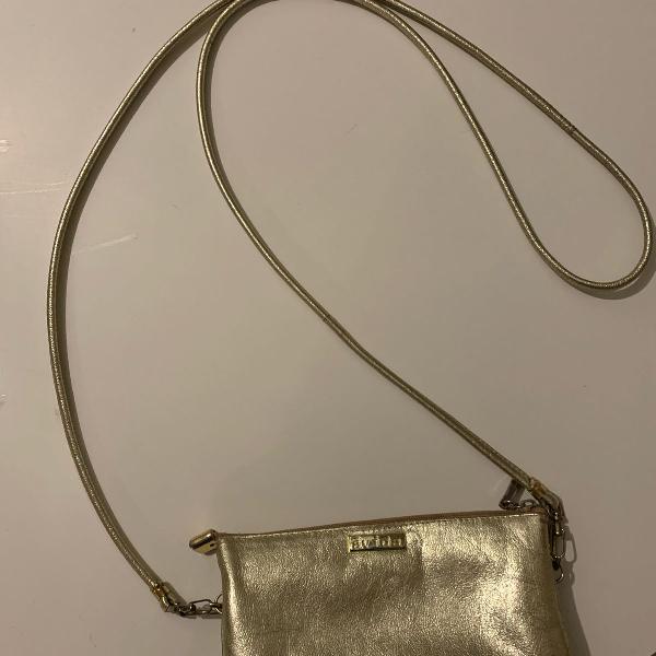 Bolsa transversal de couro, dourada, pequena. ávida