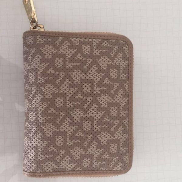 Carteira dkny dona karan couro porta cartão porta moeda