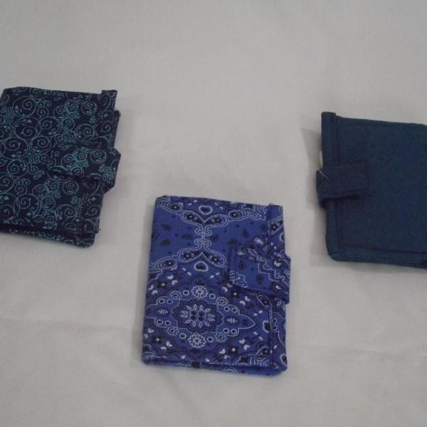 Carteiras e porta cédulas de tecidos estampas variadas