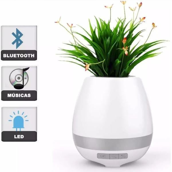 Caixa de som vaso de planta bluetooth led luminária feitun