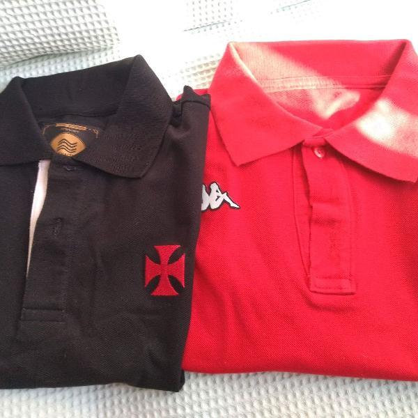 Camisa polo vasco penalty/2013 + camisa polo kappa, tamanho