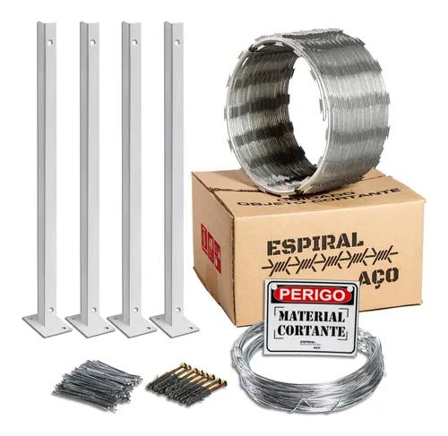 Concertina espiral aço galvonizada 10m + kit de