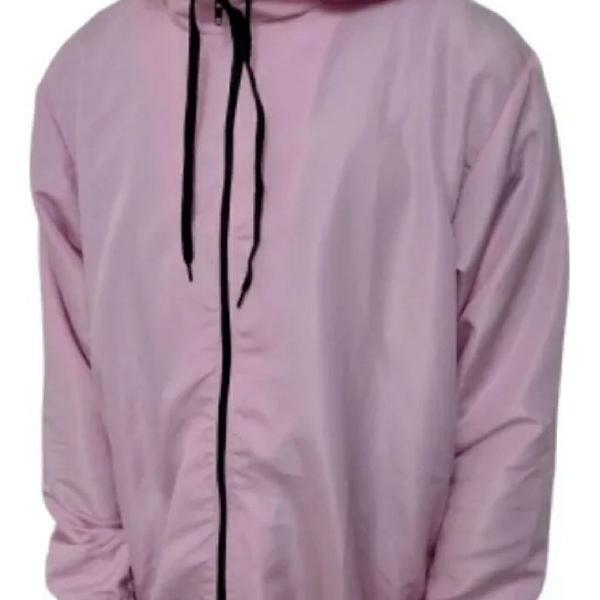 Corta vento jaqueta blusa com capuz liso preto, branco, rosa