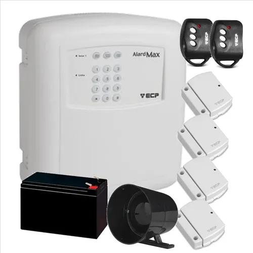 Kit alarme residencial ecp 4 sensores s/ fio (configurado)