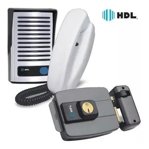 Kit interfone hdl f8 + fechadura hdl c90 eletrica cinza