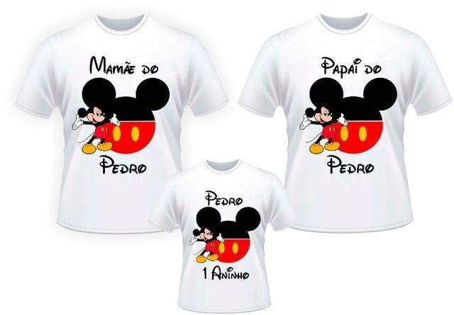 Kit festinha de aniversario com 3 camisetas personalizadas