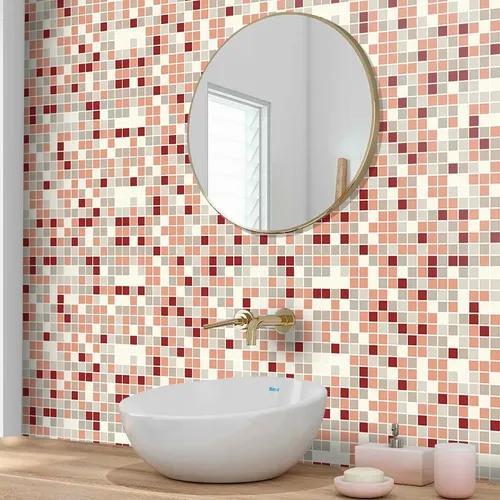 Papel de parede adesivo lavável cozinha banheiro pastilhas