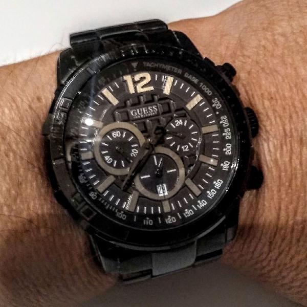 Relógio guess waterpro 10atm 45mm aço preto