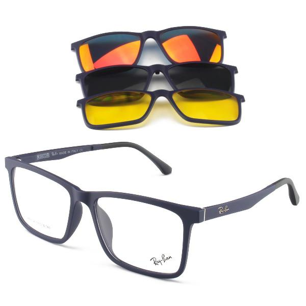 Armacao de óculos clip on rb2126 4 lentes - armação azul