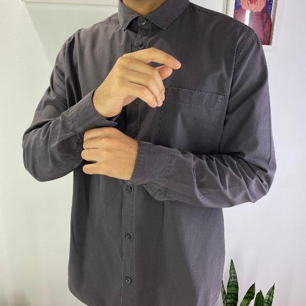 Camisa algodão manga comprida cinza cedar wood state estilo