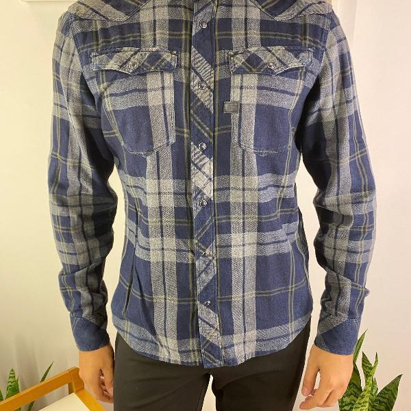 Camisa masculina g-star raw azul escuro xadrez slim flanela