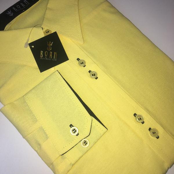 Camisa social manga longa lisa amarela