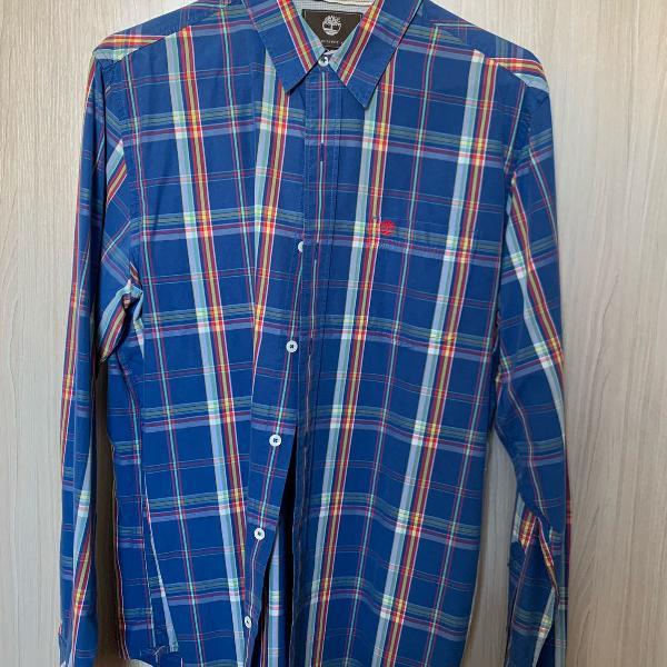 Camisa timberland azul xadrez tamanho p