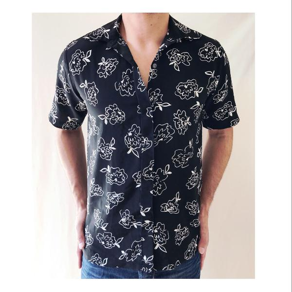 Camisa viscose estampa floral masculina