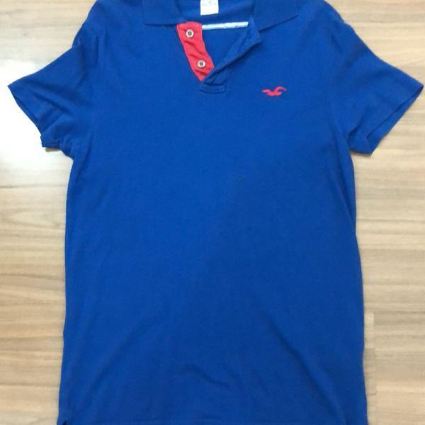 Camiseta polo hollister azul tamanho p