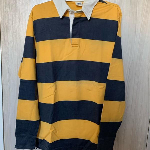 Camiseta polo old navy listra azul amarelo tamanho m manga
