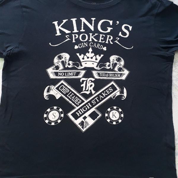Camiseta sergio k azul escura tamanho g modelo slim
