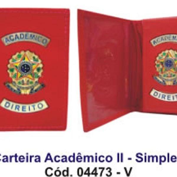 Carteira de couro para acadêmico de direito com brasão