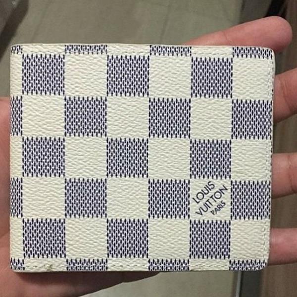 Carteira masculina monogram louis vuitton couro branca