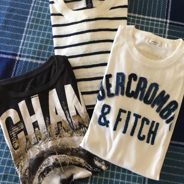 Combo 3 camisetas aber, ax e gap