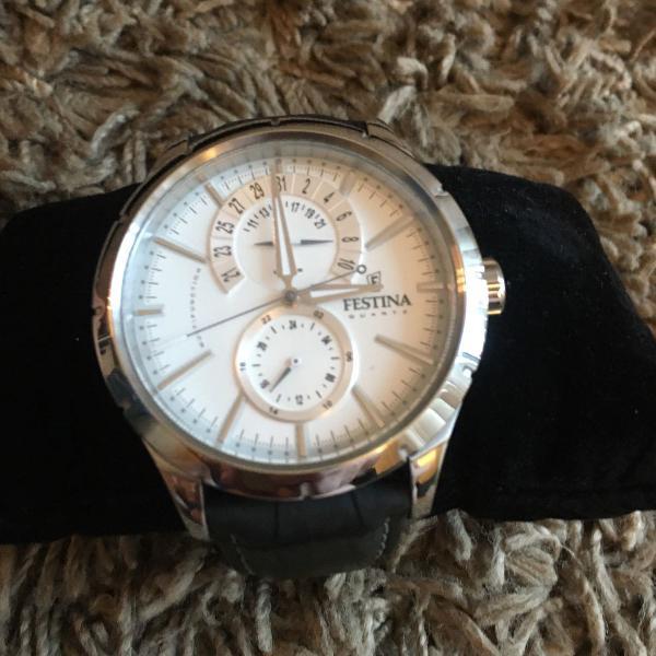 Relógio masculino festina - pulseira couro croco cor marrom