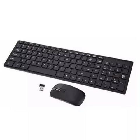 Kit teclado mouse sem fio slim wireless usb pc computador tv