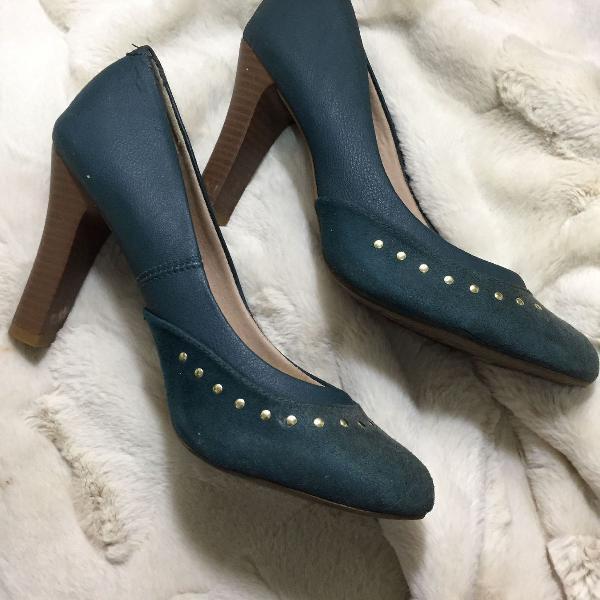 Salto alto esverdeado/azul