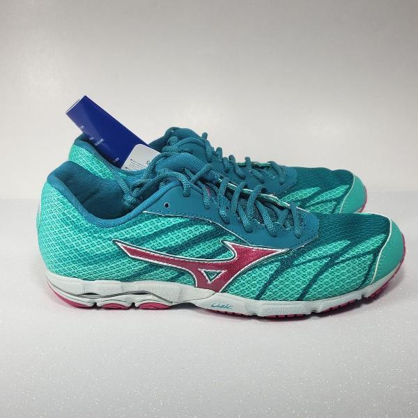 Tênis feminino mizuno wave hitogami 3 running verde/rosa