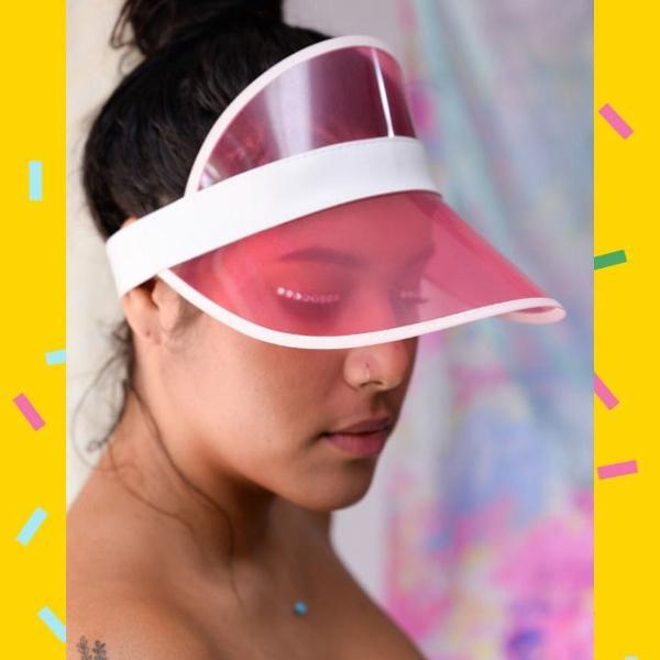Viseira rosa transparente
