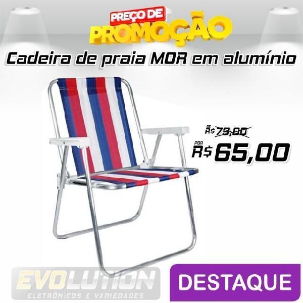 Cadeira de praia em alumínio alta listrada mor aproveite