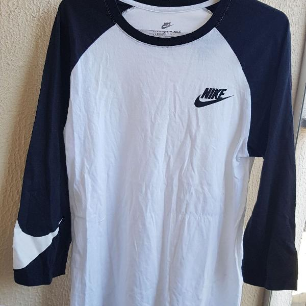 Camiseta nike manda 3/4 preto e branco