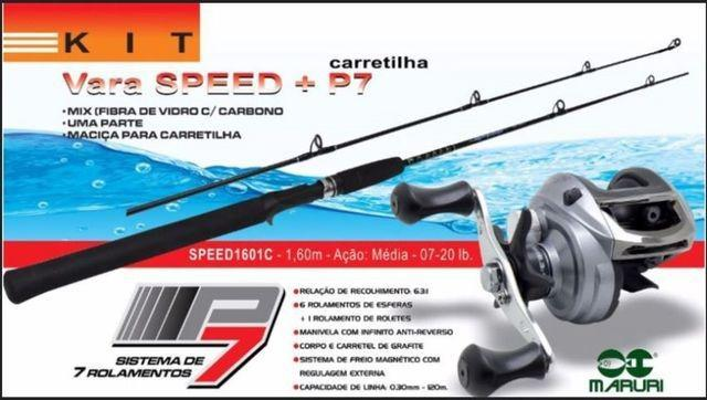 Kit carretilha p7 + vara speed 1,60mts