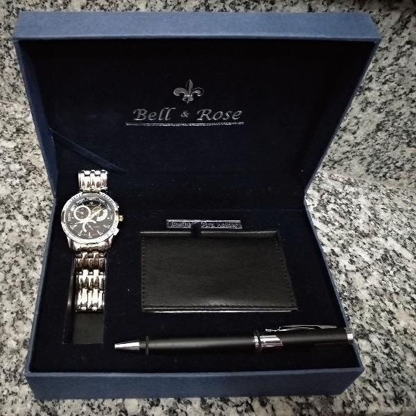 Kit relógio masculino + caneta + porta cartao