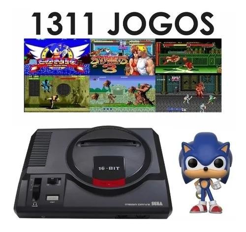 Mega drive +joystick + cartão sd com 1311 jogos