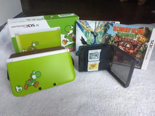 Nintendo 3ds xl - yoshi limited edition + 2 jogos