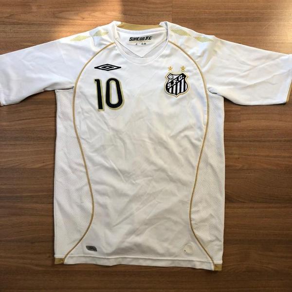 Camiseta santos futebol clube linhas douradas