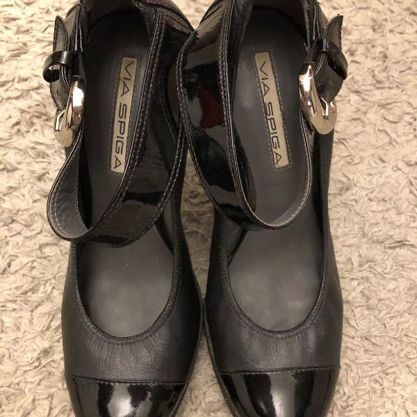 Sapato boneca via spiga preto