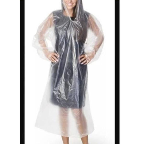 100 capas de chuva descartáveis transparente