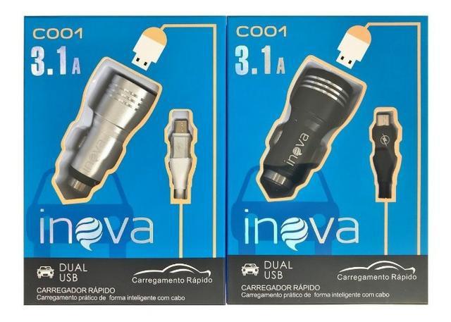Carregador v8 veicular inova original 3.1a 2 usb metal