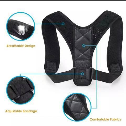 Corretor de postura ajustável, alívio de dor nas costas e