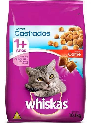 Ração whiskas carne 1+ anos gatos castrados - 10,1 kg